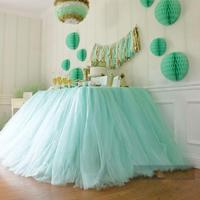 2015 Tulle Table Runners Decorations For Wedding Imitation Pearls Birthday Baby Bridal Showers Party Tutu Table