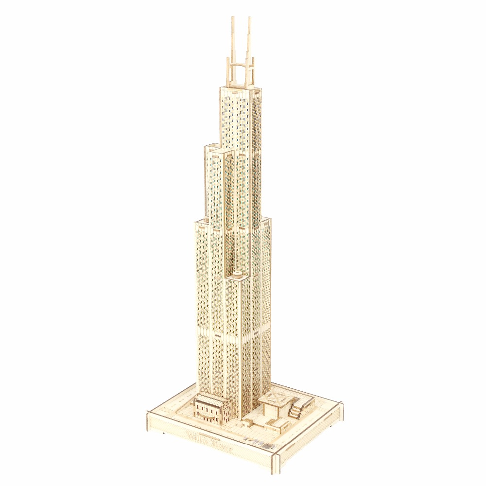 Sears Tower atmosphere night light Kids toys 3D Puzzle wooden toys Wooden Puzzle Educational toys for Children petronas towers cubicfun 3d educational puzzle paper