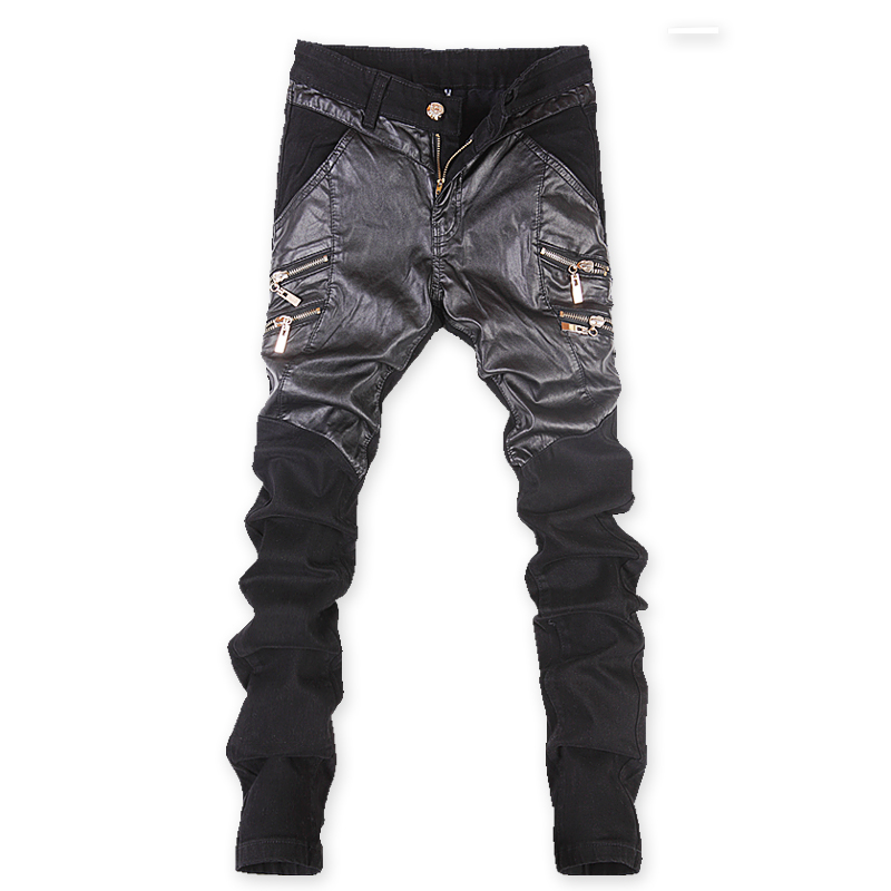2016 new arrival jeans mens PU denim jeans for men black Straight jeans mens PU casual pants size 27-36