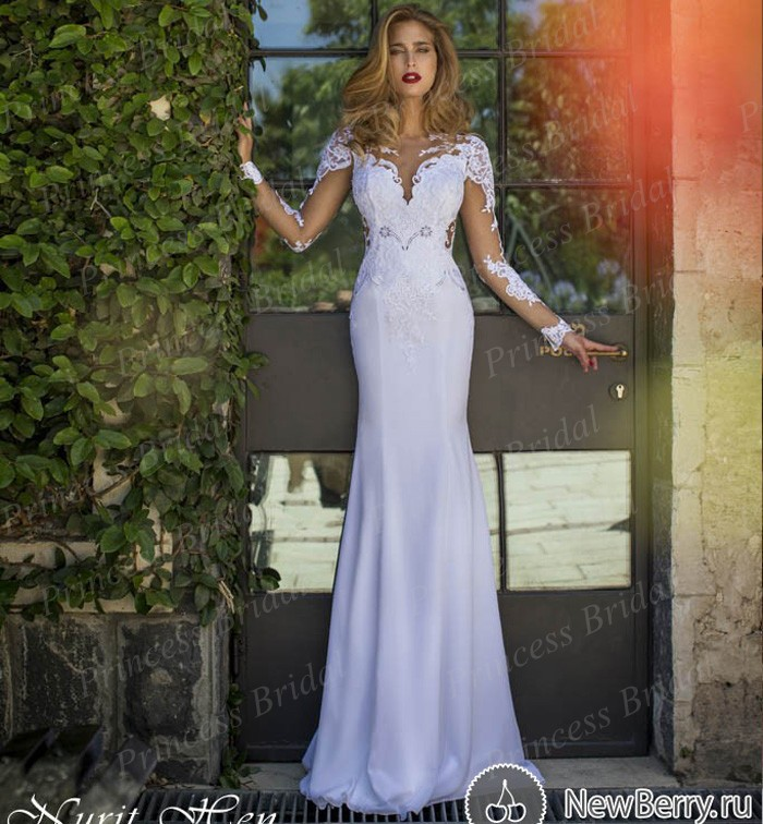 Free Shipping Exotic Fishtail See Through Bodice Sweep Train Long Sleeve  Open Back Wedding Dress With Keyhole Back MF620 153f8e95f114