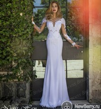 Free Shipping Exotic Fishtail See Through Bodice Sweep Train Long Sleeve Open Back Wedding Dress With