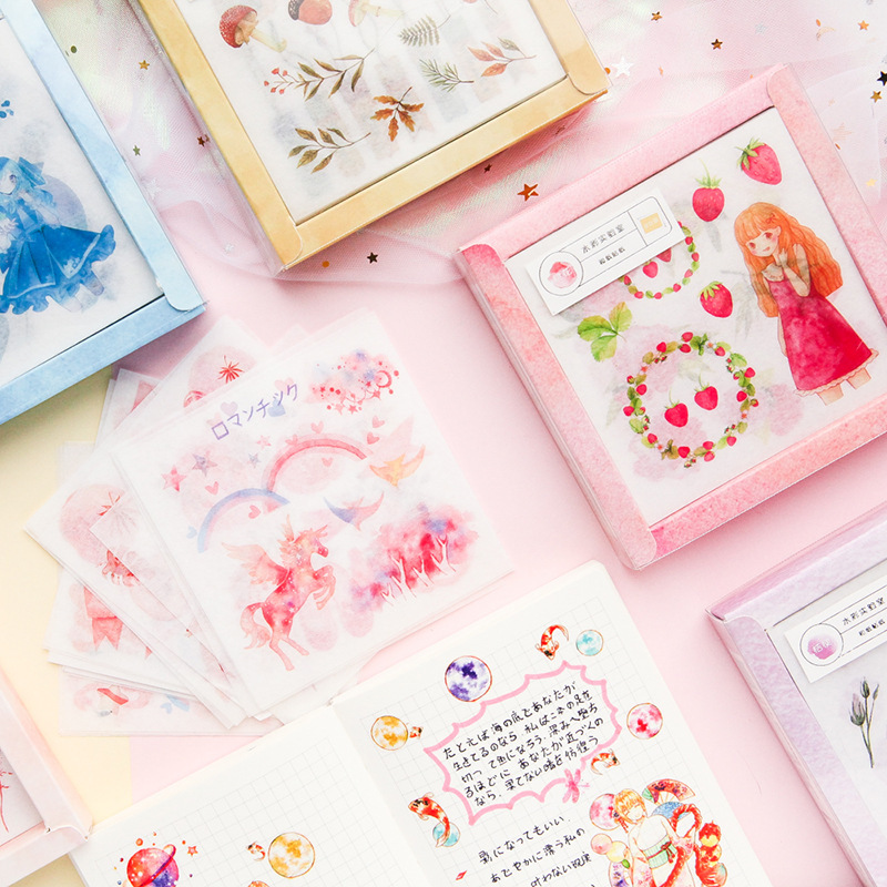 20pcs/box Watercolor Laboratory Decorative Stationery Stickers Set Scrapbooking DIY Diary Album Stick Lable Bullet Journal