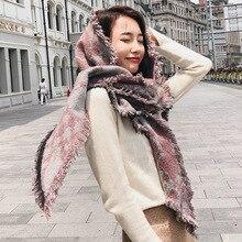 Women Bohemia style Scarf knitted circular yarn triangular scarves jacquard tassels ethnic wind autumn and winter Ladies