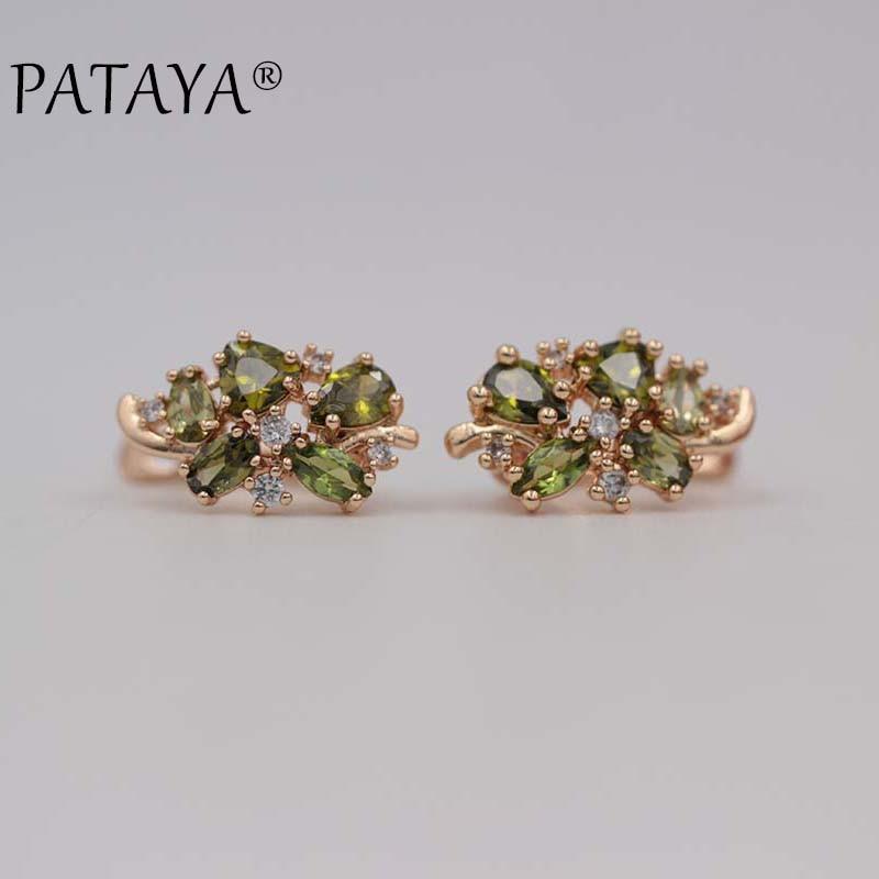 PATAYA New Multi-Colored Natural Cubic Zirconia Earrings 585 Rose Gold RU Hot Exclusive Design Earrings Women Luxury Jewelry pair of multi colored rhinestoned waterdrop crown women s earrings