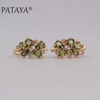 PATAYA New Multi Colored Natural Cubic Zirconia Earrings 585 Rose Gold RU Hot Exclusive Design Earrings Women Luxury Jewelry