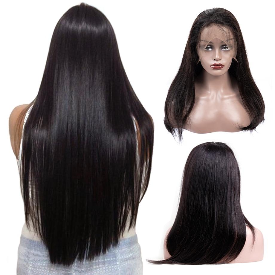 Piaoyi 360 perruque frontale en dentelle pré plumée avec des cheveux de bébé indien Remy perruque de cheveux raides avant de lacet perruques de cheveux humains pour les femmes noires