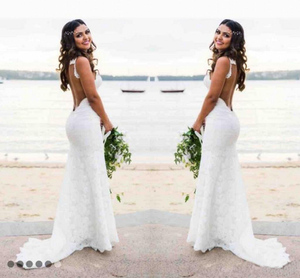Image 3 - E JUE SHUNG white lace mermaid Wedding Dresses V neck Backless boho Wedding Gowns low back beach Bride Dress