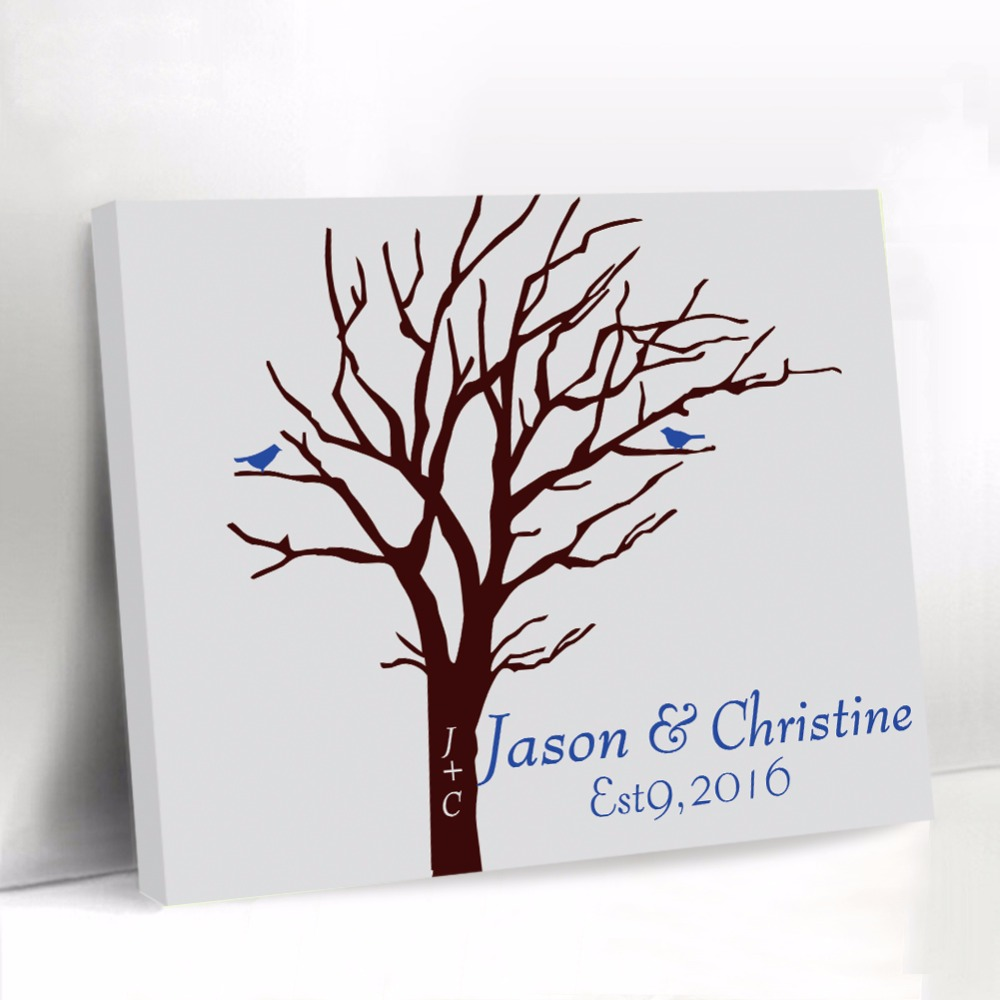 Custom Wedding Guest Book with Blue Bird Fingerprint Tree Guestbook Canvas Baby Shower Guest Book Signature Name Party Decor
