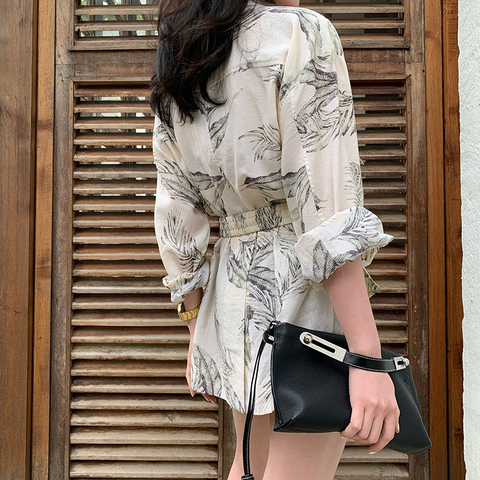 Women summer thin  print blazer with belt blazer 2019 Casual Suits Lahore