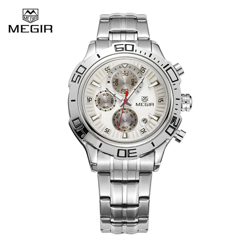 Megir Mens Quartz Wrist Watches Stainless Steel/Leather Strap Luxury Luminous Waterproof Chronograph Wristwatch Clock for Man megir mens watches leather strap square dial luxury quartz watch clock waterproof sport chronograph wristwatch montre for man
