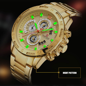 Image 3 - NAVIFORCE Men Watches Sport Waterproof Stainless Steel Fashion Luxury Gold Watch Date Clock Quartz Wristwatch Relogio Masculino