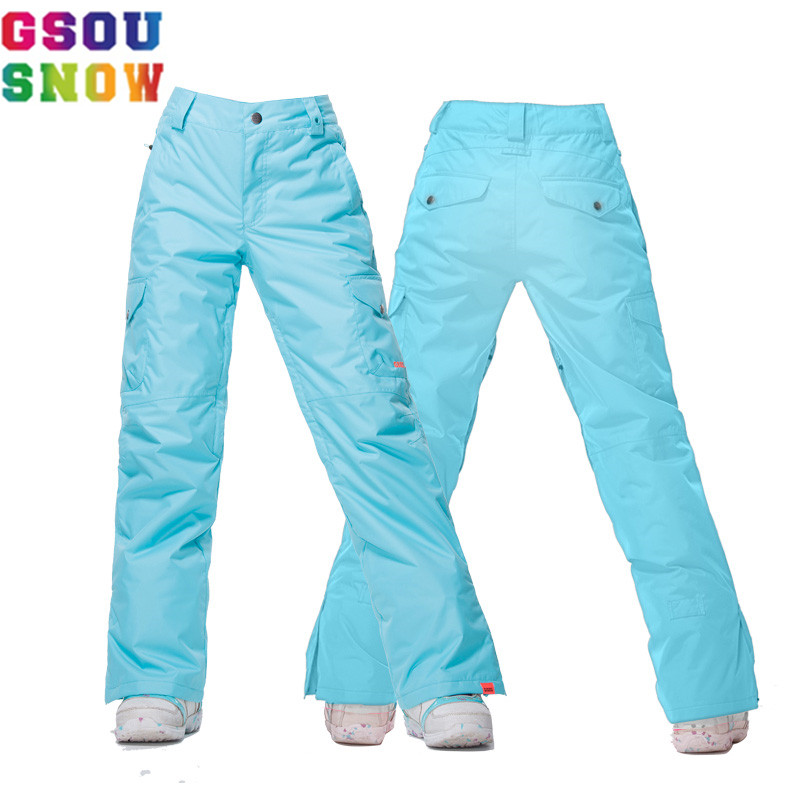 GSOU SNOW Brand Women Ski Pants Waterproof windproof Skiing Pants Winter Outdoor Breathable Warm  Female Snowboard Sport pants free shipping the new 2017 gsou snow ski suit man windproof and waterproof breathable double plate warm winter ski clothes