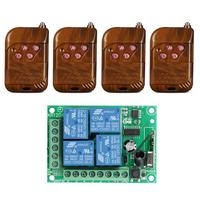 QIACHIP 433Mhz Wireless DC 12V 4CH relay 1527 Learning code Receiver Module and 4pcs 433 Mhz RF Transmitter Switch Control
