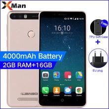 Leagoo Kiicaa Güç 4000 mAh 3G Cep Telefonu 5.0 inç 2G RAM 16G ROM MT6580A Dört Çekirdekli android 7.0 8.0MP Çift Arka Kamera