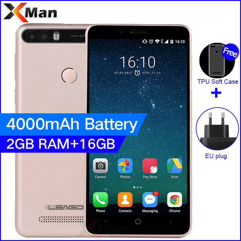 Leagoo Kiicaa Power 4000mAh 3G Mobile Phone 5.0inch 2G RAM 16G ROM MT6580A Quad Core Android 7.0 8.0MP Dual Back Camera