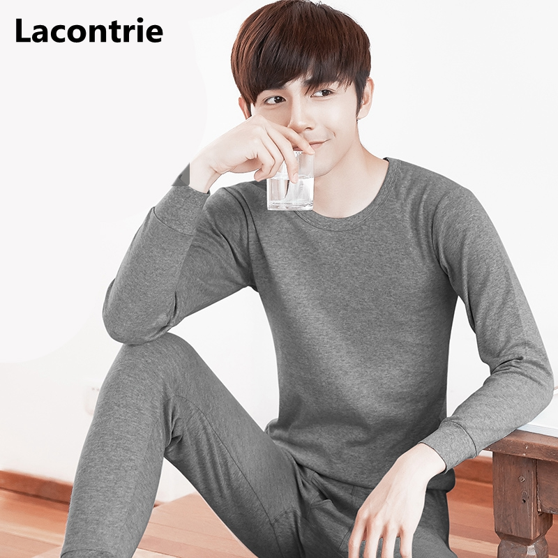 Lacontrie Plus Size 5XL Fashion Round Neck Men s Thermal Underwear 2017 New Winter Mens Casual