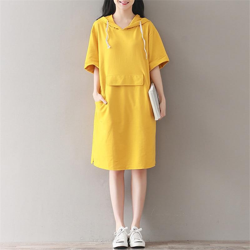 ea2b220a3af9 Casual Vintage Yellow Large Pockets Short Sleeve Knee Length Hoodie Summer  Dress Sun Dresses Fashion Loose Women Robe TT2768
