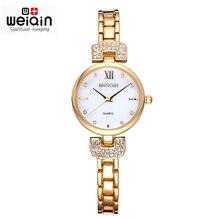 Pantalla de Tiempo de Cristal de Plata y Oro de Roma Relojes WEIQIN Mujeres de la Marca de Moda de Lujo de Cuarzo Rhinestone Vestido Reloj Relogio Feminino