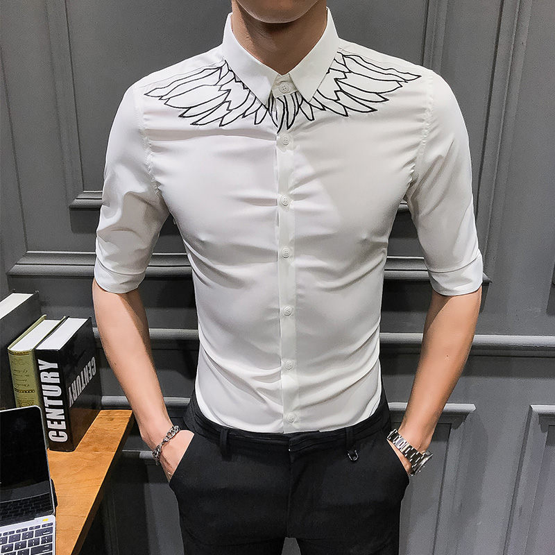 US $19.49 35% OFF|Spring Summer New Shirt Men 2019 Brand Half Sleeve Men Shirt Hot Sale Streetwear mens shirts casual slim fit wings print tuxedo in