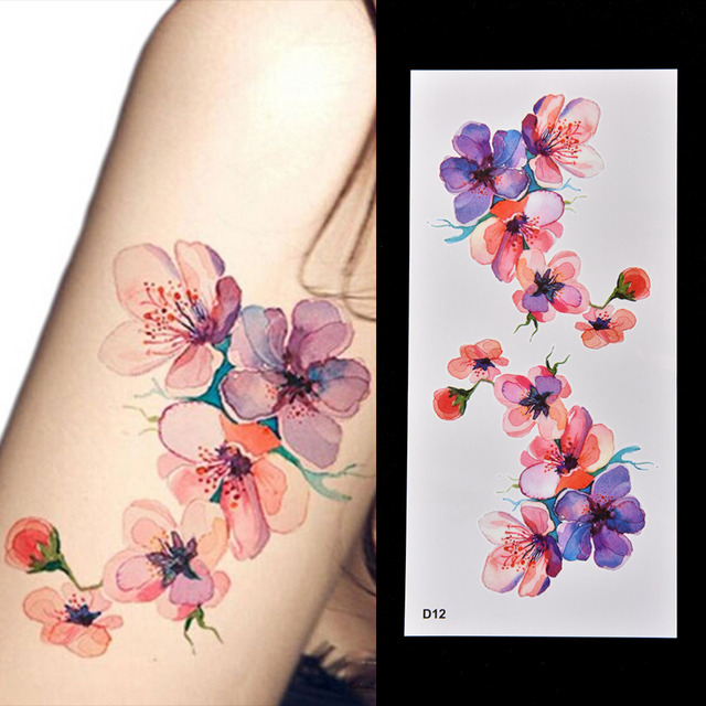 DIY Watercolor Orchid Arm Temporary Tattoo Sticker Waterproof Temporary Fake Tattoo Sticker For Women