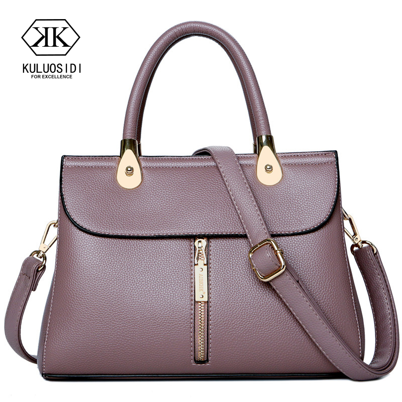 Mother Gift Hight Quality Classice Genuine Leather Bag for Women 2018 Mid Zipper Leather Handbags Sac