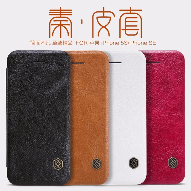 separation shoes e5d79 a9ba9 US $9.89 5% OFF|Nillkin QIN Series leather case for iPhone SE 5 5S 5E 5SE  luxury brand protective cover with Retail Package-in Flip Cases from ...