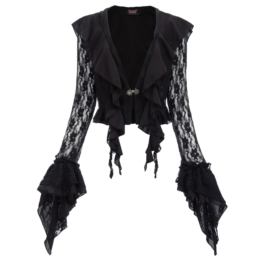 black party vintage jacket Women retro Swallowtail flare sleeve Steampunk Renaissance Gothic Frill Hooded tops Lace Coat ladies