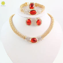 Fashionable Jewelry Sets For Women Oval Pendant Crystal Necklace Earrings Bracelet Ring Gold Color Wedding Jewelry Sets(China)