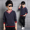 2017 New Brand Boys Spring Shirts Fashion Children Solid Cotton Long Sleeves Clothing Active Casual V-Neck Kids Clothes Hot Sale