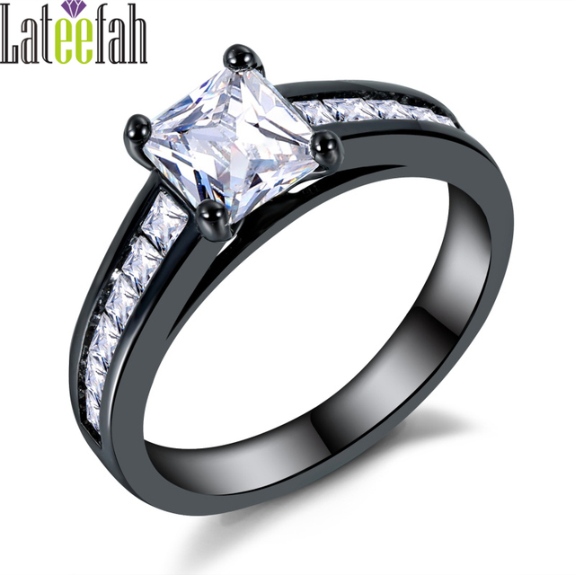 Simple Design Princess Cut Wedding Ring White Square Cubic Zirconia Channel  Setting Women Fashion Black Female