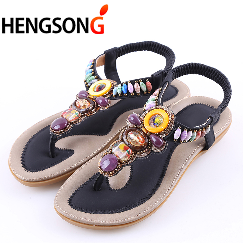 2018 Summer Flat Sandals Ladies Women Bohemian Beach Flip Flops Shoes Gladiator Fashion Beaded Sandles Zapatos Mujer Sandalias