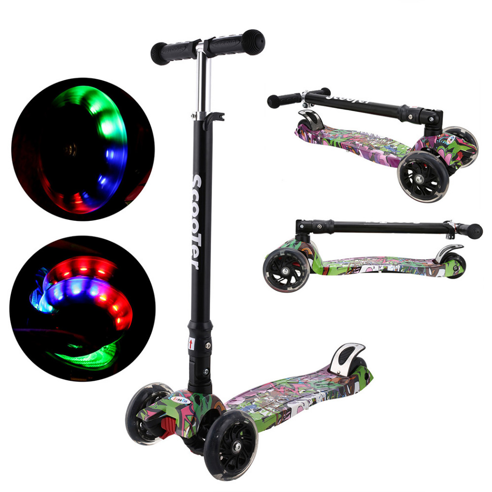 ANCHEER Mini Children Kick Scooter LED Lamp PU 3 Wheels LED Bicycle Outdoor Aluminum Sport Bodybuilding Scooter For ChildANCHEER Mini Children Kick Scooter LED Lamp PU 3 Wheels LED Bicycle Outdoor Aluminum Sport Bodybuilding Scooter For Child