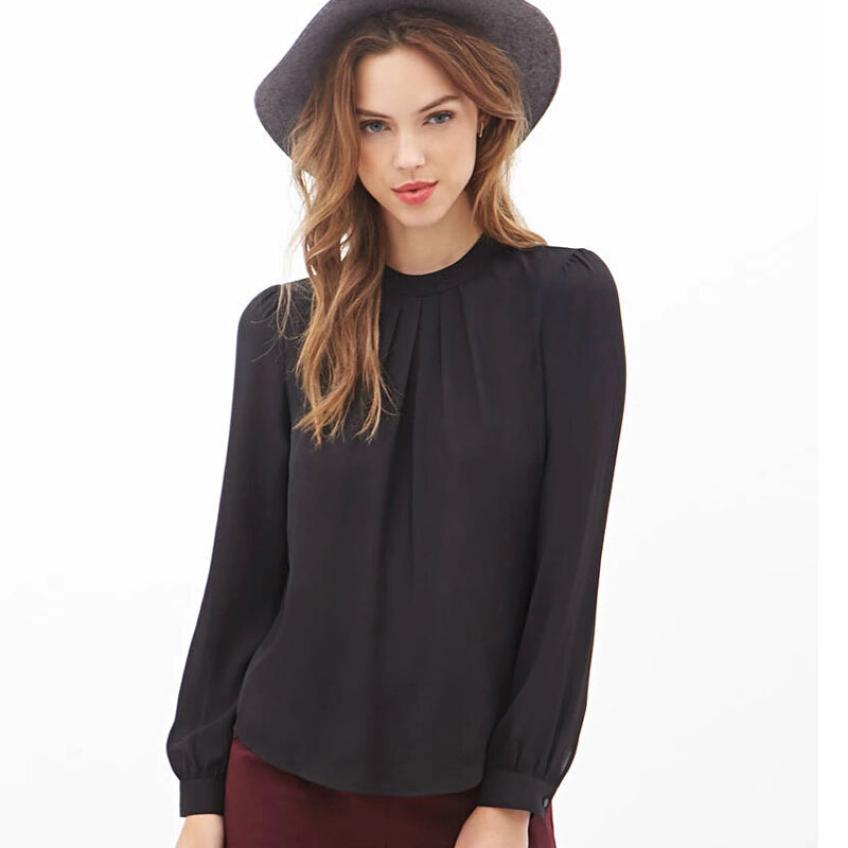 Black Friday VOT7 vestitiy Women Summer Fold Loose Casual Chiffon Long Sleeve Shirt Tops Blouse,Aug 10