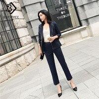 2 Pieces Set OL Female Suit Double Breasted Dark Blue Striped Pant Suits Women's V neck Blazer Jacket Pencil Pants S91441J