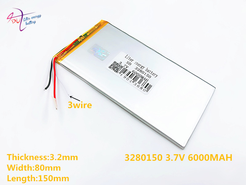 3 line 3.7V,6000mAH,[3280150] PLIB ( polymer lithium ion battery ) Li-ion battery for tablet pc,GPS,mp3,mp4,cell phone,speaker 3570100 3 7v 3000mah lithium polymer battery for tablets mp3 mp4 more silver