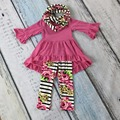 FALL/Winter scarf set children baby girls floral print ruffles hot pink suit cotton striped 3pieces long pants boutique clothing