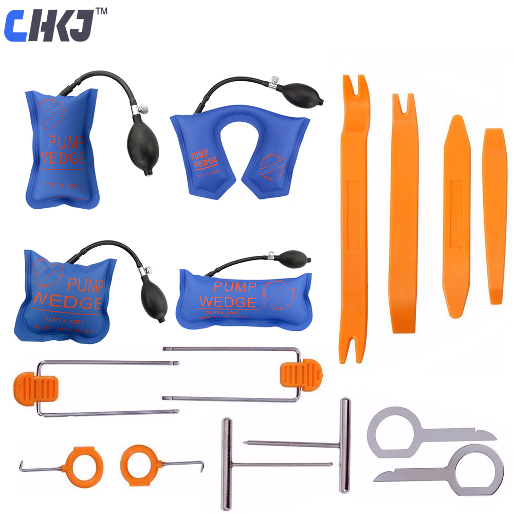 CHKJ 4pcs Pump Wedge Locksmith Tools Car Door Lock Opening Reparing Tools 12pcs Car Radio Panel Pry Tool Trim Removal Tools Kit