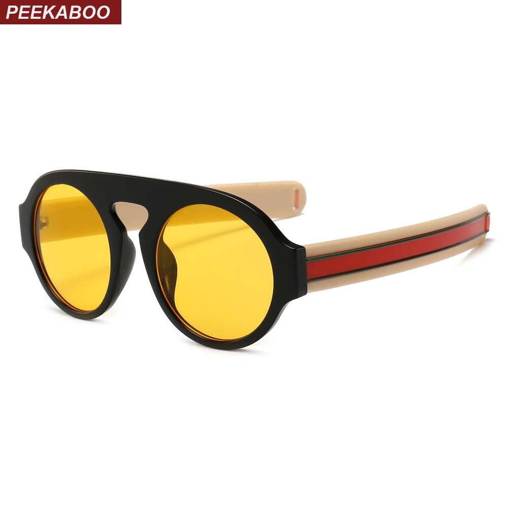 9aeba5b5ad Peekaboo retro round sunglasses women yellow lens designer 2019 high fashion  sun glasses for man classic