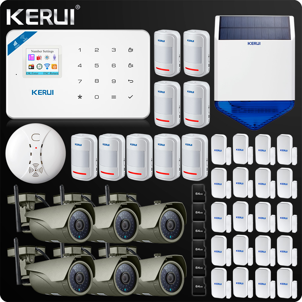 kerui W18 WIFI GSM Burglar Home Security Alarm System 1080P Wifi IP camera Outdoor Solar Siren Smoke Sensor Camera Wifi
