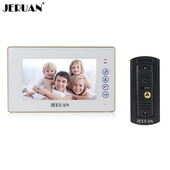 JERUAN Home Safety 7 inch color screen touch key video door phone intercom system Metal 700TVL IR Night vision Pinhole Camera