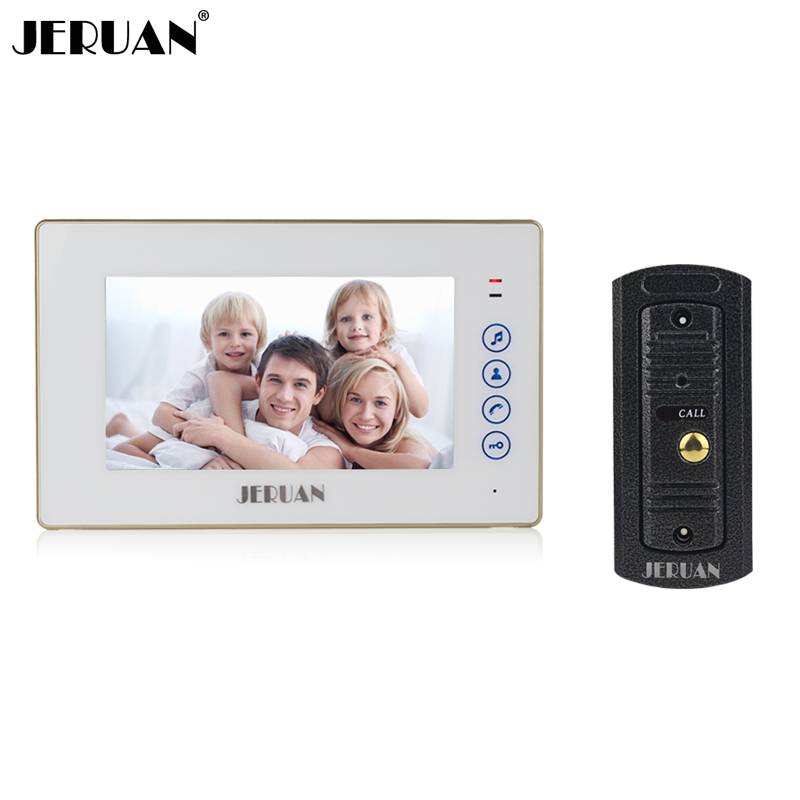 Jeruan inicio Seguridad 7 pulgadas color de pantalla táctil video de la puerta sistema de intercomunicación del teléfono metal 700tvl ir Night Vision pinhole cámara
