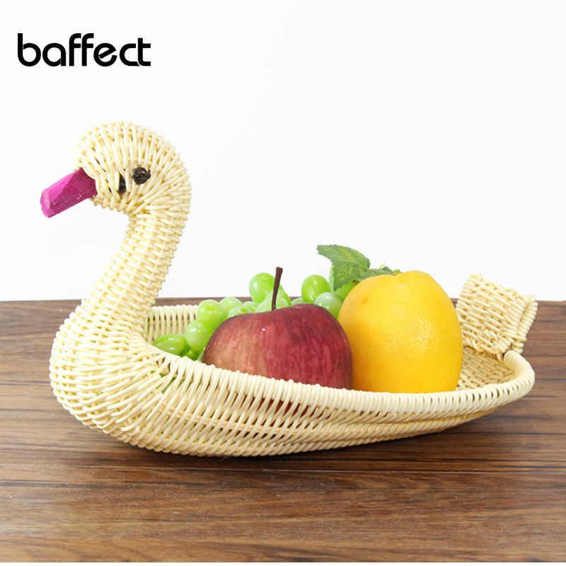 Stockage de fruits créatif oie rotin panier modélisation des animaux environnement rotin tissé fruits et légumes panier de stockage des aliments