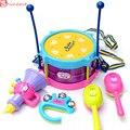New belas 5 pçs/set tocando instrumentos musicais set colorido bebê educacional toys tambor handbell//trompete/areia martelo/vara do cilindro