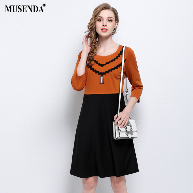 MUSENDA Plus Size Women Elegant Caramel Black Patchwork Tunic Dress 2018  Spring Female Lady Casual Dresses Robe Vestido Clothing 4013aa1c1e26