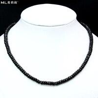 Vintage clásico Piedra Natural joyería noble delicado negro spinels rebordeado cadena ahogador collar 46 cm