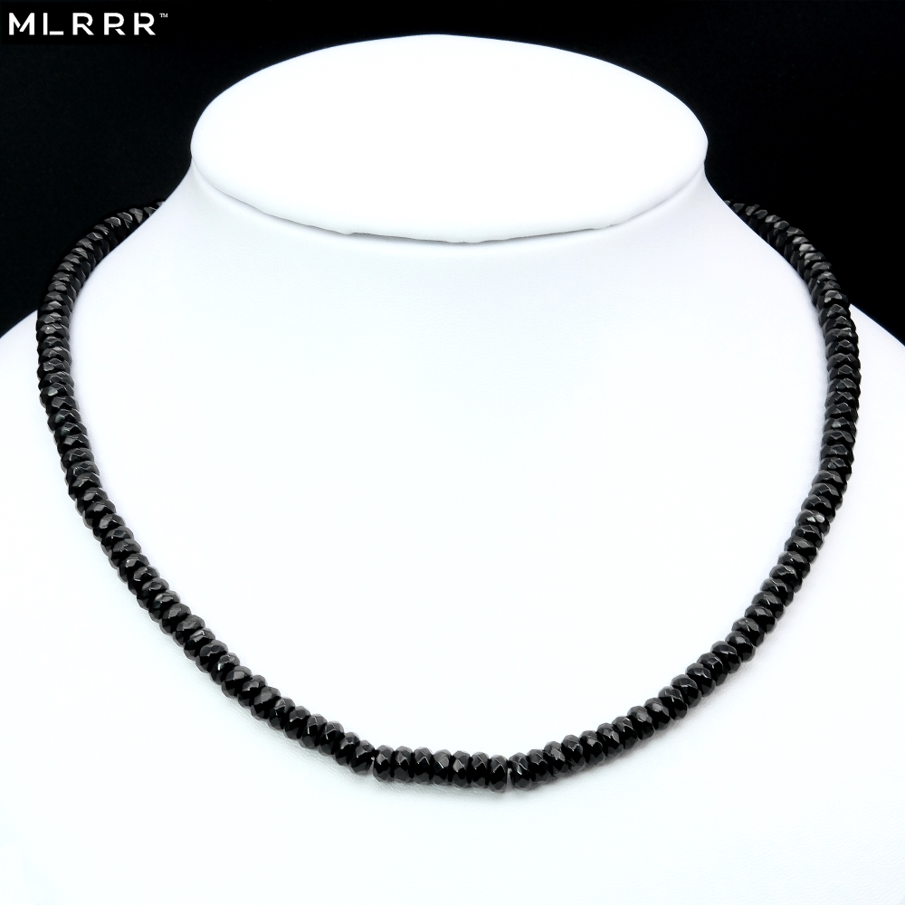 Vintage Classic Natural Stone Jewelry Noble Delicate Black Spinels Beaded Chain Choker Necklace Collier 46cm
