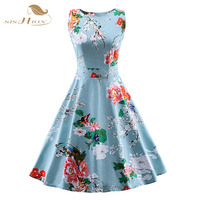 2016 New Summer Dress Plus Size Women Clothing S 4XL Casual Beach Floral Rockabilly Vintage Dress