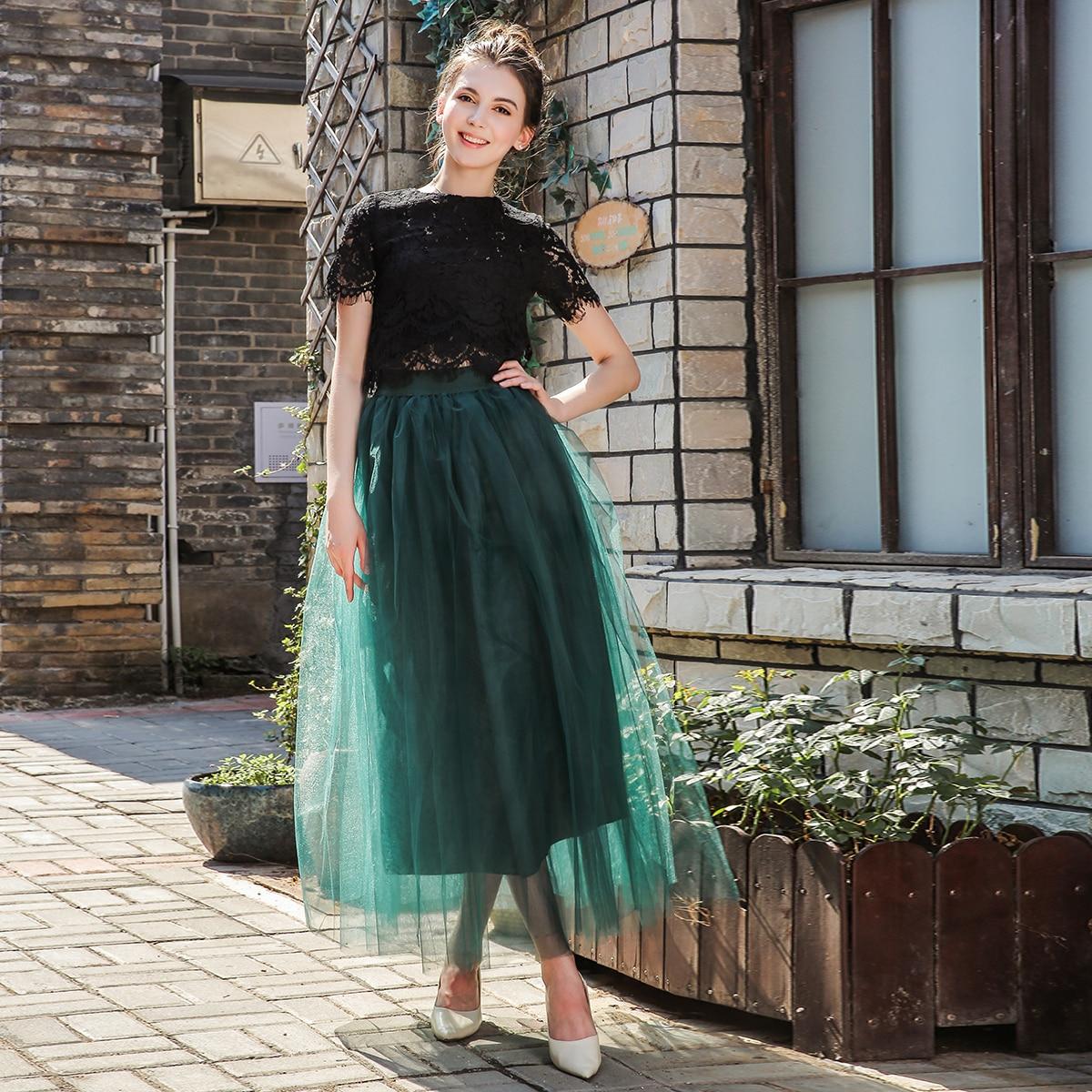 4 strati 100cm 2018 maxi lungo tutu gonne di tulle gonna a pieghe delle donne lolita sottoveste faldas mujer saias jupe