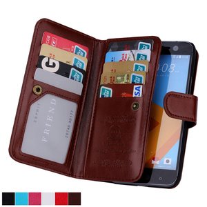 Luxury Coque Case For HTC One M9 M10 Case 2 in 1 Detachable Leather Wallet Flip Cover Case 9 Cards Slot Design