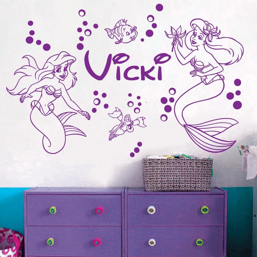 custom name mermaid vinyl wall decal sticker art homedecor nursery princess girls room mural